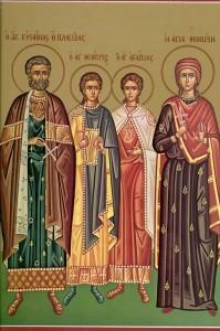 Sfântul Mare Mucenic Eustatie, soţia sa Teopista şi copiii lor: Agapie şi Teopist.